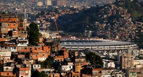 The Maracana stadium is seen between Turano slum and Mangueira slum in Rio de Janeiro